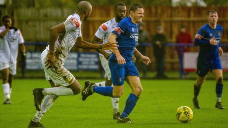 Ollie Hughes bursts forward on a Bury Town break during the 2-2 home draw against Romford. Picture: