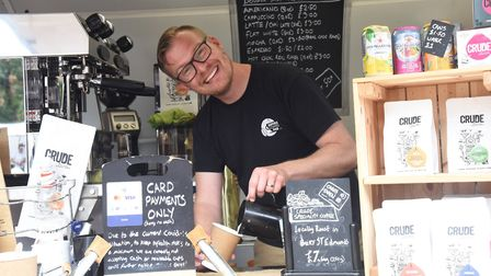 Antony Knights at the Hadleigh market in his quirky Suffolk Coffee pod Picture: CHARLOTTE BOND