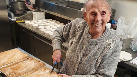 Flo Osborne, 89, has been cooking pies for the elderly and vulnerable during the lockdown in Harwich from her apartment in...