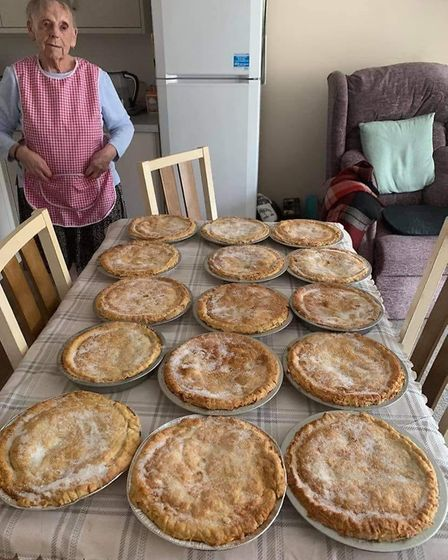 Flo Osborne, 89, has cooked more than 150 pies for the elderly and vulnerable in Harwich. Picture: LES NICOLL