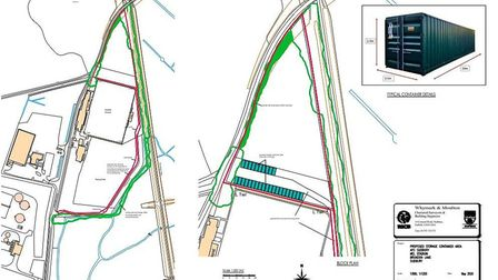 Site plans for up to 30 containers to be stationed on unused land at AFC Sudbury football grounds. P