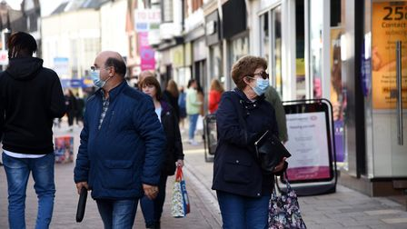 Ipswich Town Centre shoppers wearing masks Picture: CHARLOTTE BOND