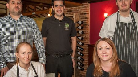 The Green Man has reopened at Rackheath. Clockwise from front right: Jo Thurling, Emma Ball, Stewart