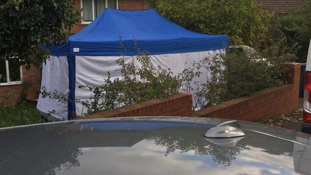 A tent in front of the property in Bridgewood Road, Woodbridge Picture: ARCHANT