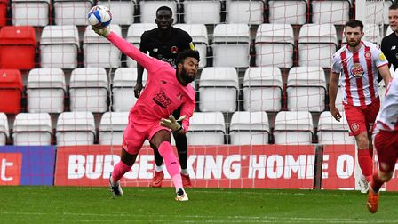 Lawrence Vigouroux Of Leyton Orient F.C. throws the ball out during Stevenage vs Leyton Orient, Sky