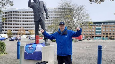 At the Bobby Robson statue having completed the gruelling walk Picture: MALCOLM THOMPSON