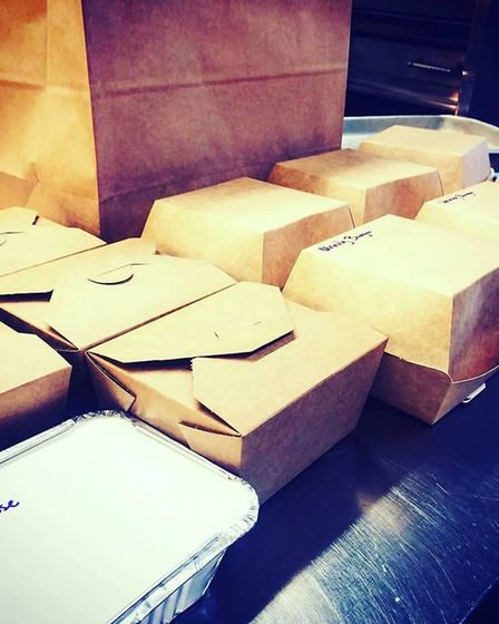 Food packaged up and ready to go at The Unruly Pig: The Unruly Pig