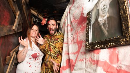 Lorrie Thackeray has created a spooky maze outside his house for Halloween Picture: SARAH LUCY BROW