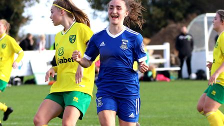 Sophie Peskett celebrates her goal in the Blues 3-1 win at Norwich in the FA Cup Picture: Ross Halls