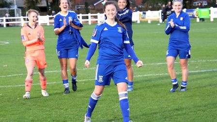Eloise King celebrates the full-time whistle as the Blues progress to the next round of the FA Cup P