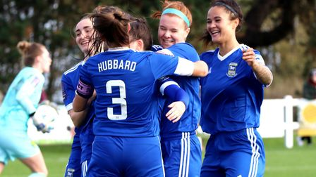 Town Women players celebrate one of the three goals as Town beat Norwich in the FA Cup Picture: Ross
