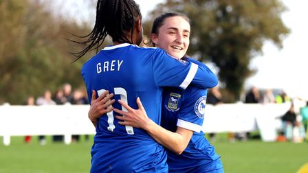 Sophie Peskett celebrates her goal with Anna Grey in the Blues 3-1 win at Norwich in the FA Cup Pict