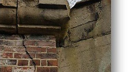 A picture of the crack, clearly visible below the pilaster on the Cowdray Avenue bridge in Colcheste
