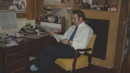 Pat Church. in his office at the Hatter Street cinema Photo: Pat Church