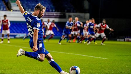Alan Judge with a second half free kick in the EFL trophy game against Arsenal.Picture: Steve W