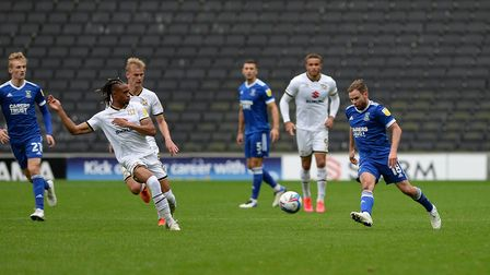 Alan Judge plays the ball forward at MK Dons. Picture Pagepix Ltd