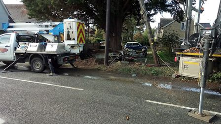 An Audi collided with a garden, which led to power cables being knocked down in Haughley Green. Pict