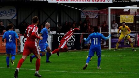 Felixstowe & Walton United are awarded a late penalty against Coggeshall Town last weekend. This wee
