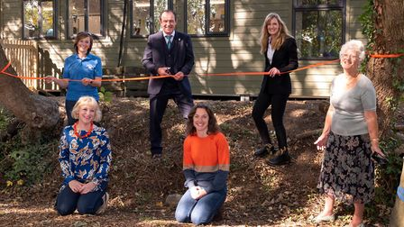 The official ribbon cutting for the new Horringer Pre-School building after a successful fundraising