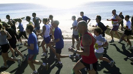 Sunshine and a clear sea air for the runners at the start of the Felixstowe Half Marathon along the