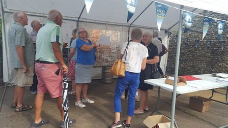 Members of the public look over the new plans a few weeks ago Picture: GEORGE COMMUNITY PUB