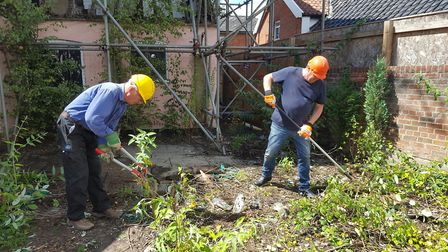 Ground clearance underway at the George Pub in Wickham Market Picture: GEORGE COMMUNITY PUB