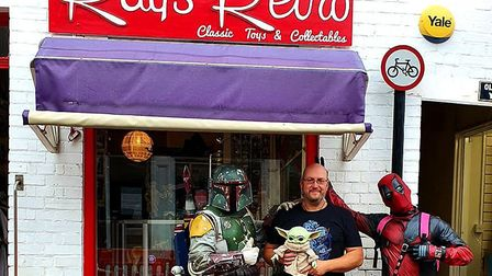 Tony Byfield opened his retro toy shop on Saturday with some help from a couple of Superheroes. Pict