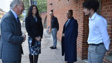 All spaced out... Duke of Gloucester meets teenagers at restored Georgian arch. Picture: London Heri