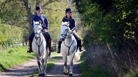 Horse riders take part in the charity horse ride organised by Kyra Welch, starting at Sly's Farm in