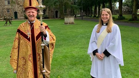 The Revd Laura Pope and The Rt Revd Martin Seeley, Bishop of St Edmundsbury and Ipswich Picture: CON