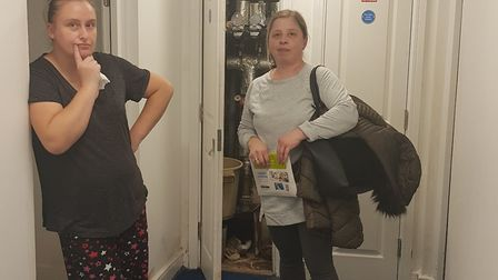 Justyna and Remi at Birkbeck House where water leaks have continued since 2017. Picture: Kerry Mcnab