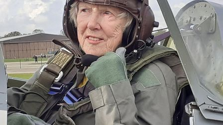 Jannette Service of Thurston flew in a Spitfire for her 80th birthday Picture: STUART SERVICE