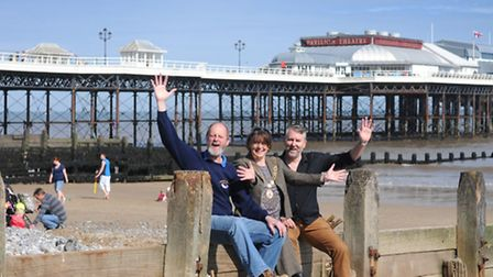 Cromer Chamber of Trade president Tracey Kahill and members, left, Richard Leeds and Martin Torrens
