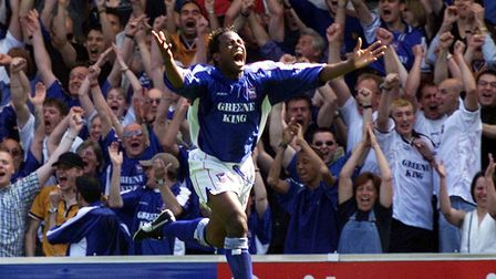 David Johnson, pictured after scoring against Walsall on the final day of the 1999/00 season. It loo