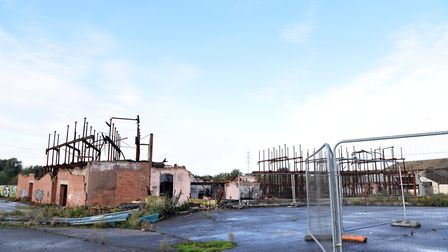 The burnt shell of the former Fisons factory in Bramford, Suffolk Picture: CHARLOTTE BOND