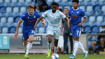 Kane Vincent-Young on the ball at Colchester Picture: RICHARD BLAXHALL