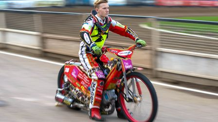 Teenager Drew Kemp pictured on the pre meeting parade ahead of the Ipswich v Peterborough meeting.