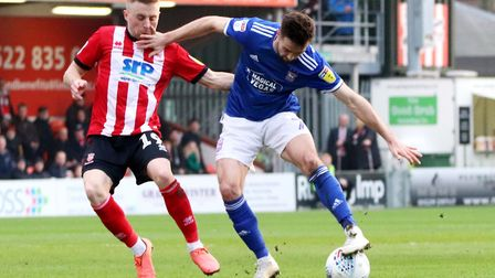 Ipswich Town's leading scorer Gwion Edwards, in action against today's hosts Lincoln City. Picture: