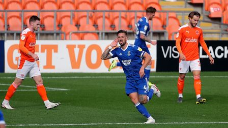 Ipswich Towns Luke Chambers celebrates scoring his side's first goal of the game in their 4-1 win at