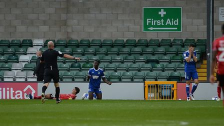 Toto Nsiala looks bewildered after conceding his second penalty in a week at Lincoln City. Picture P