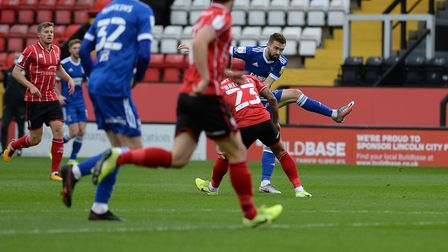 Gwion Edwards with an on-target first half effort at Lincoln City. Picture Pagepix