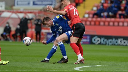 Oli Hawkins shields the ball at Lincoln City. Picture Pagepix