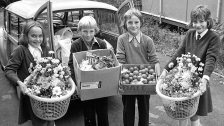 Halesworth school pupils involved with a harvest festival event in September 1976 Picture: ARCHANT