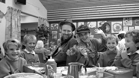 Harvest festival at Sebert Wood Primary School, Bury St Edmunds, in October 1991 Picture: ARCHANT