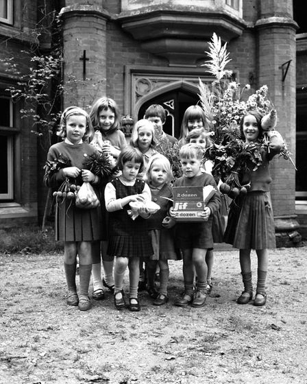 Harvest Festival time at Hadleigh Hall School in October 1965. Were you a pupil there? Picture: ARC