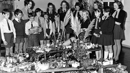 Harvest festival at Hillcroft School, Stowmarket, in October 1969 Picture: ARCHANT