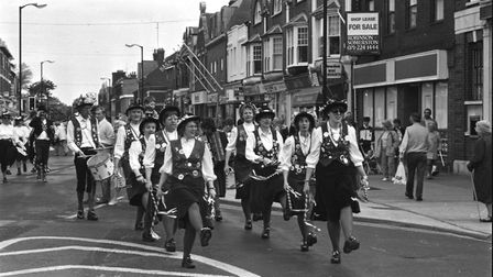 A group of female morris dancers in full costume in Felixstowe in 1991 Picture: ARCHANT