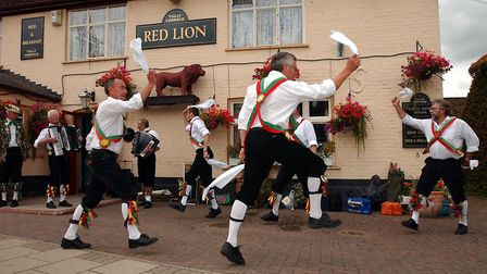 Colchester Morris Men at the Red Lion, East Bergholt during their 50th anniversary tour. Picture: C