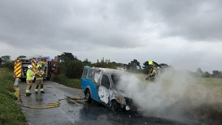 The van was completely destroyed by the fire, along with all of his gardening tools. Picture: SEB FRANKLIN