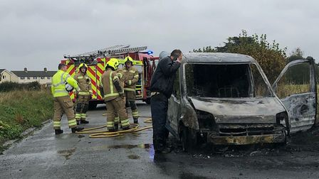 Darren Barton's van, which he uses for his gardening business, erupted into flames on a country road in Great Wenham.